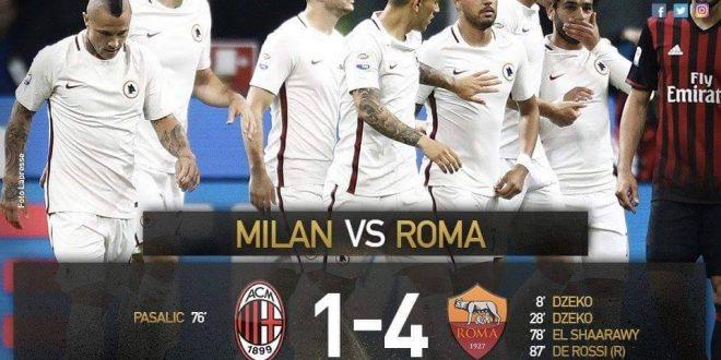 نتيجة مباراة روما و ميلان