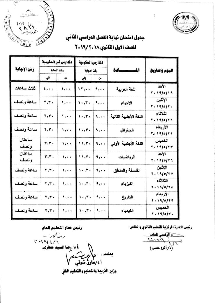 جدول امتحانات الصف الاول الثانوي العام